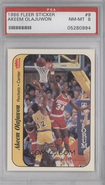 1986-87 Fleer Stickers #9 - Hakeem Olajuwon [PSA 8]
