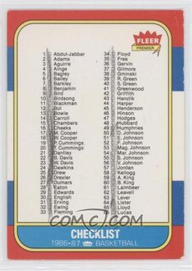 1986-87 Fleer #132 - Checklist