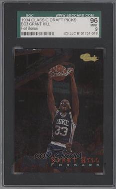 1994 Classic Bonus Cards #BC3 - Grant Hill [SGC96]