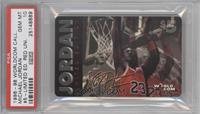 Michael Jordan (horizontal, jumping with backboard) /50100 [PSA 10]