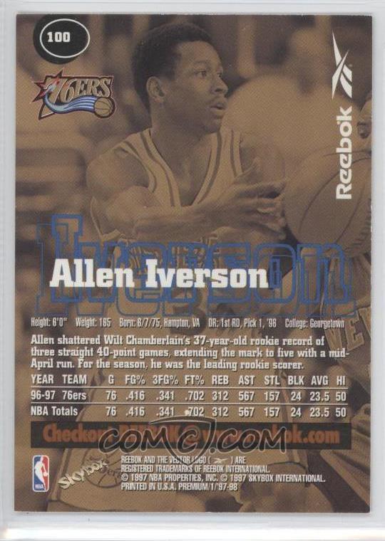 1997-98 Skybox Premium Reebok Bronze #100 - Allen Iverson ...