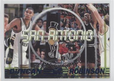 1997 Press Pass Double Threat Blue #45 - Tim Duncan, Glenn Robinson, David Robinson