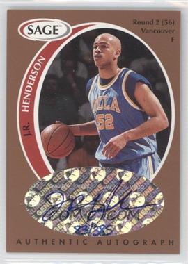 1998 SAGE - Authentic Autograph - Bronze #A19 - J.R. Henderson /385