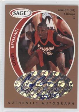 1998 SAGE - Authentic Autograph - Bronze #A2 - Corey Benjamin /650
