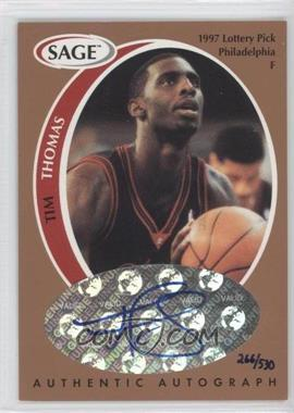 1998 SAGE - Authentic Autograph - Bronze #A43 - Tim Thomas /530