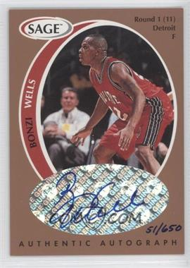 1998 SAGE - Authentic Autograph - Bronze #A45 - Bonzi Wells /650