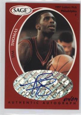 1998 SAGE - Authentic Autograph #A43 - Tim Thomas /819