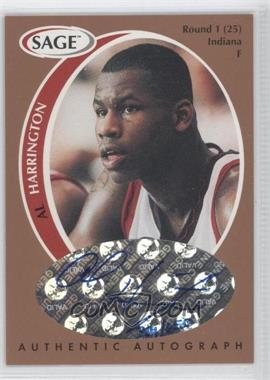 1998 SAGE Authentic Autograph Bronze #A18 - Al Harrington /650
