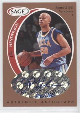1998 SAGE Authentic Autograph Bronze #A19 - J.R. Henderson /385