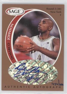 1998 SAGE Authentic Autograph Bronze #A21 - DeMarco Johnson /600