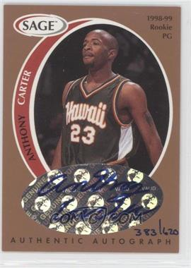 1998 SAGE Authentic Autograph Bronze #A7 - Anthony Carter /620