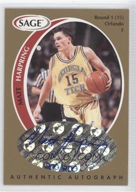 1998 SAGE Authentic Autograph Gold #A17 - Matt Harpring /200