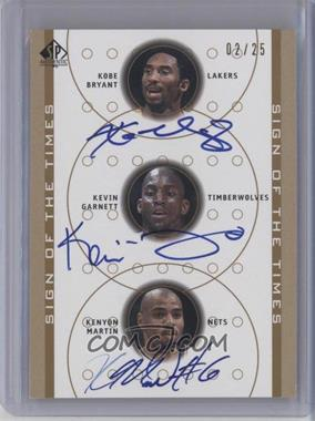 2000-01 SP Authentic - Sign of the Times Triple - [Autographed] #KB/KG/KM - Kobe Bryant, Kevin Garnett, Kenyon Martin /25