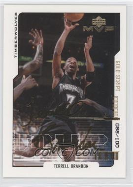 2000-01 Upper Deck MVP Gold Script #99 - Terrell Brandon /100