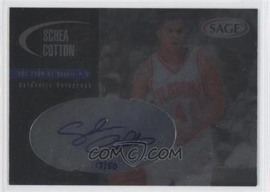 2000 Sage - Authentic Autograph - Platinum #A10 - Schea Cotton /50