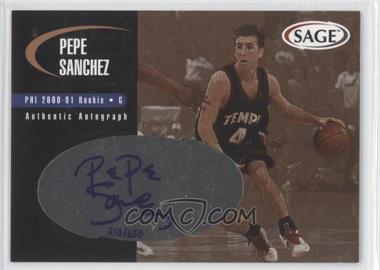2000 Sage Authentic Autograph Bronze #A43 - Pepe Sanchez /650