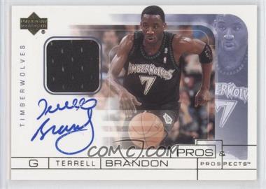 2001-02 Upper Deck Pros & Prospects - Game Jersey Autographs #TB-A - Terrell Brandon