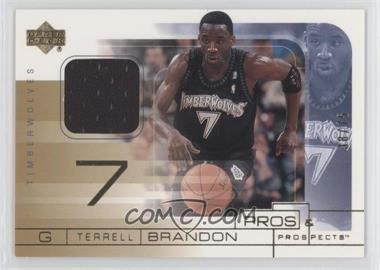 2001-02 Upper Deck Pros & Prospects - Game Jerseys - Gold #TB - Terrell Brandon /75