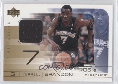 2001-02 Upper Deck Pros & Prospects Game Jerseys Gold #TB - Terrell Brandon /75