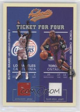 2002-03 Fleer Authentix Ticket for Four #N/A - Elton Brand, Vince Carter, Kenyon Martin, Morris Peterson /200