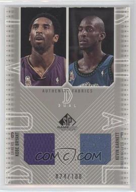 2002-03 SP Game Used Edition Authentic Fabrics Dual #KB/KG-J - Kevin Garnett, Kobe Bryant /100