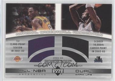 2002-03 Upper Deck Honor Roll All-NBA Authentic Dual Warm-ups #KB/KG-W - Kobe Bryant, Kevin Garnett