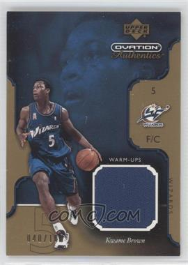 2002-03 Upper Deck Ovation Authentics Gold Shooting Shirt #KW-W - Kwame Brown /100