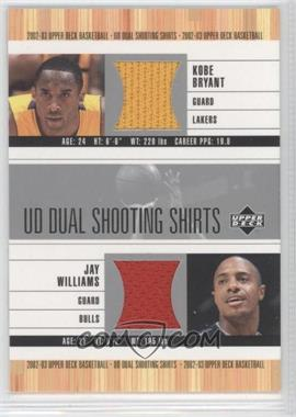 2002-03 Upper Deck UD Dual Shooting Shirts #KB/JW-S - Kobe Bryant, Jay Williams