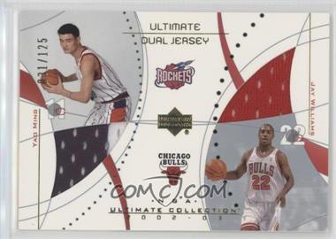 2002-03 Upper Deck Ultimate Collection Ultimate Dual Game Jerseys #YM/JW - Yao Ming, Jay Williams /125