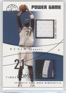 2003-04 Flair Final Edition Power Game Jerseys Dual Platinum Team Win Total Patch #KGPGD- - Kevin Garnett /58