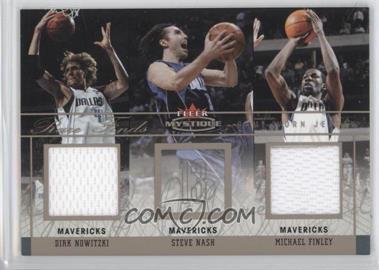 2003-04 Fleer Mystique - Rare Finds - Dual Jersey #RFD-DN/MF - Dirk Nowitzki, Steve Nash, Michael Finley /250