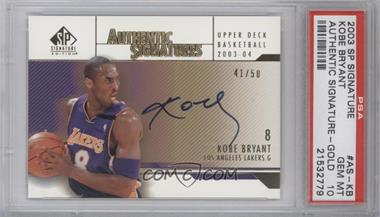 2003-04 SP Signature Edition Authentic Signatures Gold [Autographed] #AS-KB - Kobe Bryant /50 [PSA10]