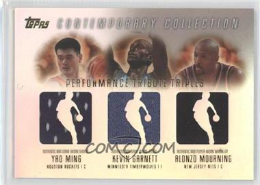 2003-04 Topps Contemporary Collection Performance Tribute Triples Relics #PTT-MGM - Yao Ming, Kevin Garnett, Alonzo Mourning /250