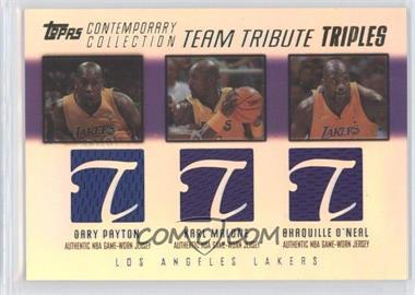 2003-04 Topps Contemporary Collection Team Tribute Triples Relics Red #TTT-PMO - Gary Payton, Karl Malone, Shaquille O'Neal /250