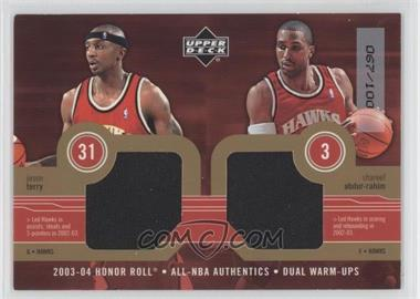 2003-04 Upper Deck Honor Roll - All-NBA Authentics - Gold Dual Warm-Ups #JT/SA - Jason Terry, Shareef Abdur-Rahim /100