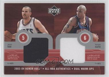 2003-04 Upper Deck Honor Roll All-NBA Authentics Dual Warm-Ups #JK/KM - Jason Kidd, Kenyon Martin
