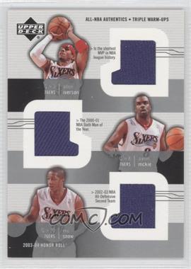 2003-04 Upper Deck Honor Roll All-NBA Authentics Triple Warm-Ups #AI/AM/ES - Allen Iverson, Aaron McKie, Eric Snow