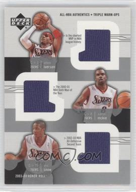 2003-04 Upper Deck Honor Roll All-NBA Authentics Triple Warm-Ups #AI/AM/ES - Allen Iverson, Aaron McKie, Eric Snow