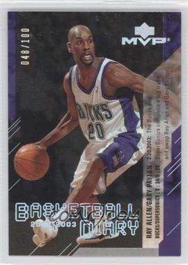 2003-04 Upper Deck MVP Basketball Diary Platinum #BD10 - Gary Payton, Ray Allen /100