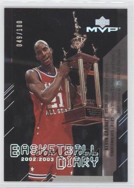 2003-04 Upper Deck MVP Basketball Diary Platinum #BD3 - Kevin Garnett /100