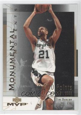 2003-04 Upper Deck MVP Monumental Moments #MM3 - Tim Duncan