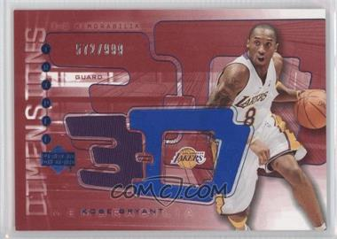 2003-04 Upper Deck Triple Dimensions 3-D Memorabilia Warm-Up #3DW16 - Kobe Bryant /999