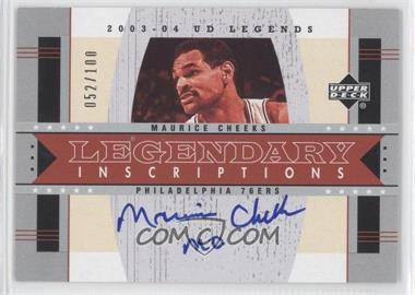 "2003-04 Upper Deck UD Legends Legendary Inscriptions #LI-MO - Maurice Cheeks ""Mo"" /100"