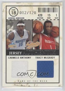 2004-05 Fleer Authentix Jersey Authentix Dual #JAGW-AM - Carmelo Anthony, Tracy McGrady /120