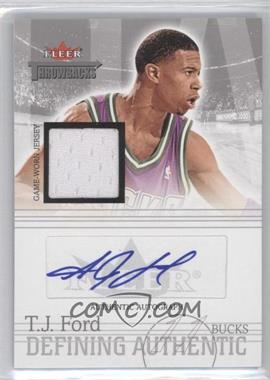 2004-05 Fleer Throwbacks Defining Authentic Silver Jersey Autographs #DAA-TF - T.J. Ford /50