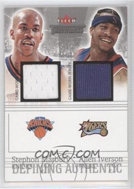 2004-05 Fleer Throwbacks Defining Authentic Silver Jerseys Dual #DAD-SM/AI - Stephon Marbury, Allen Iverson /99