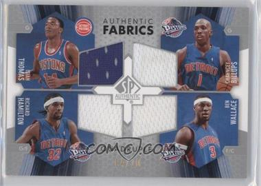 2004-05 SP Authentic Authentic Fabrics Quadruple #AF4-TBHW - Ben Wallace, Chauncey Billups, Isiah Thomas, Richard Hamilton /10