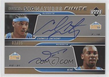 2004-05 Upper Deck Finite Dual Signatures [Autographed] #FS2-AN - Carmelo Anthony, Nenê /25
