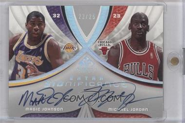 2005-06 SP Game Used Edition - SIGnificance - Dual Extra [Autographed] #XSIG-MM - Magic Johnson, Michael Jordan /25