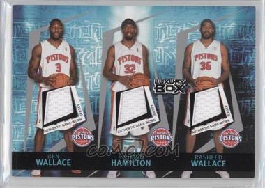 2005-06 Topps Luxury Box - Triple Double Relics - Courtside #TDR-9 - Ben Wallace, Richard Hamilton, Rasheed Wallace, Chauncey Billups, Tayshaun Prince /25